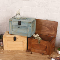Solid Wood Diary Notepad Lock Large Storage Box Wooden Retro Storage Box Jewelry Finishing Box