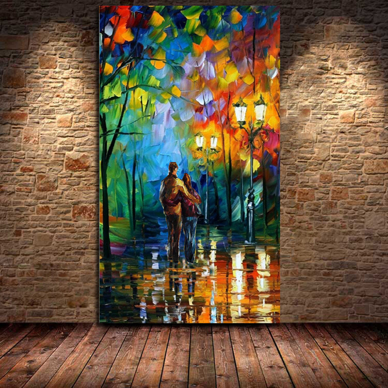 100 Hand Drawn City At Night 3 Knife Painting Modern: 100% Hand Painted Landscape City Lovers Night View Knife