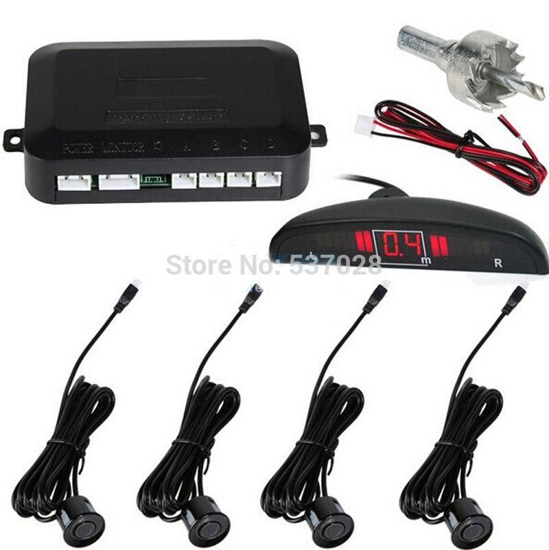 4 Датчики Системы 12 В LED Дисплей Индикатор Парковка автомобиля обратный радар Kit Black