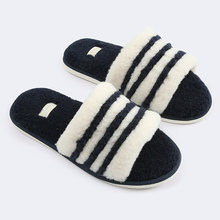 Slippers for women Big Size 44 Home Flock PVC Striped Female slippers Short Plush Warm Fur