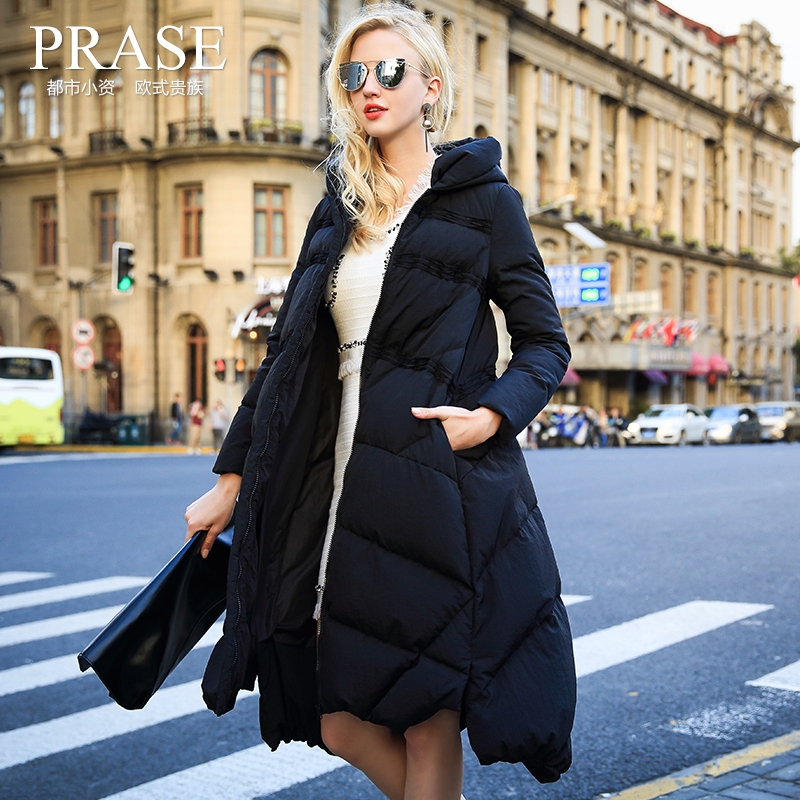 Europe Winter 2016 New Large Pendulum Type Jacket Down Jacket, Long Cocoon Parkas For Women Ladies Fleece Coats