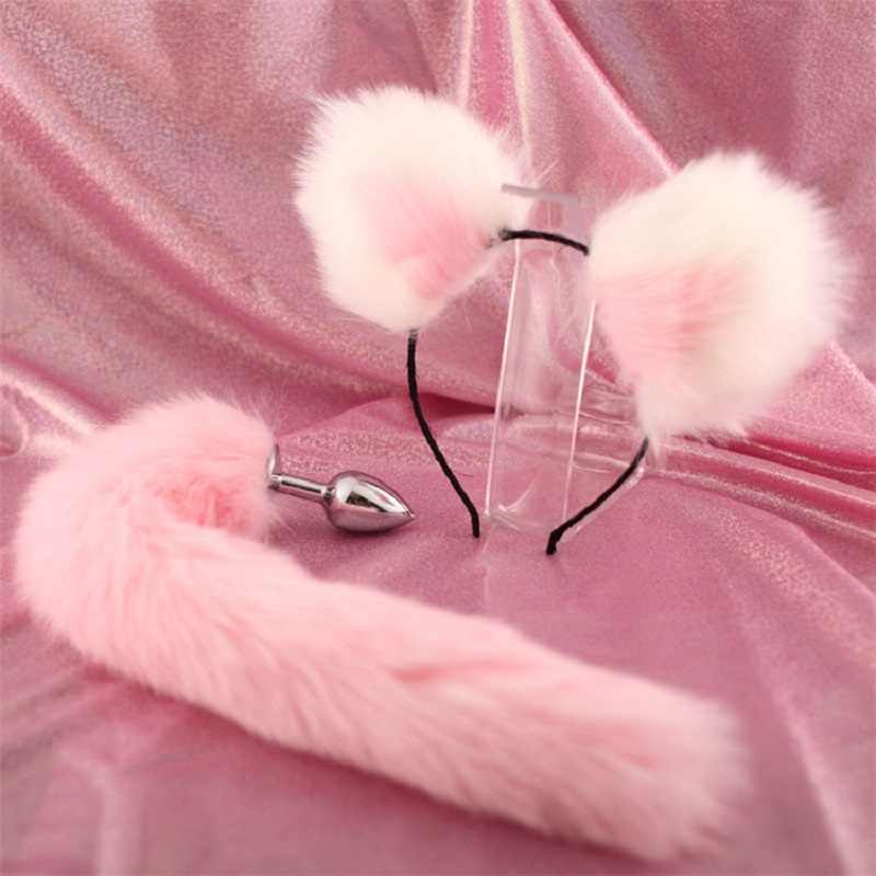 Large Fox Fur Tail w 2.8x7cm Plug Tool Funny Accessories with Handmade Plush Fox Ears Hairpin Headband for Couples Cosplay Games