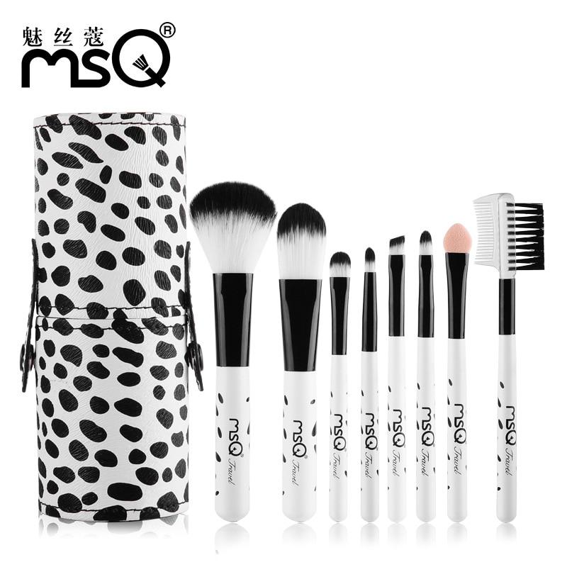 New Portable Makeup Brushes 8Pcs/Set 2017 Mini Pro Fashion Synthetic Hair Contour Powder Make Up Brushes Wood Handle Kits Holder