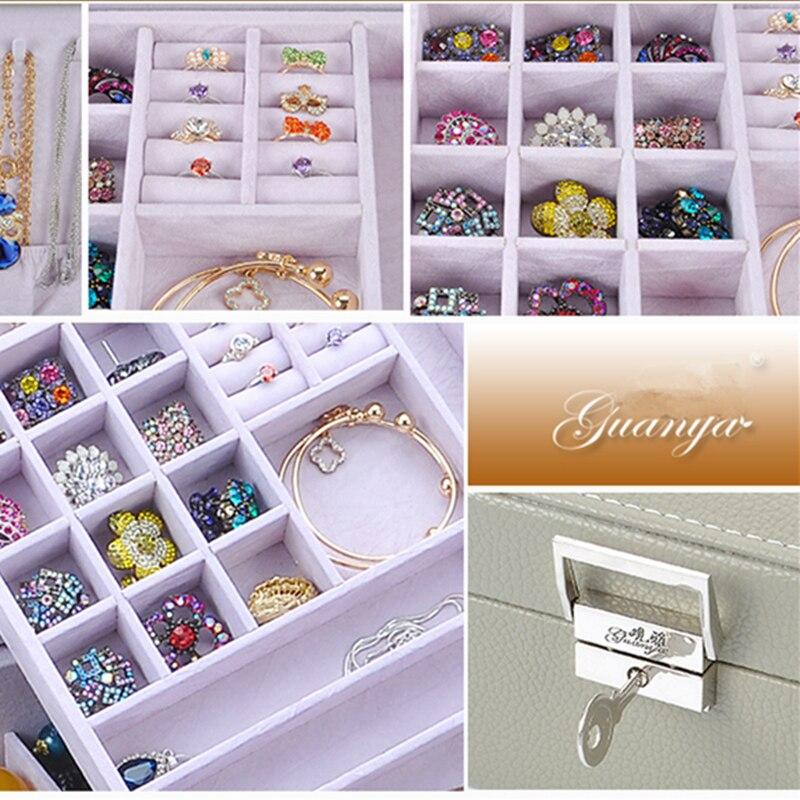 Guanya femmes grand carré anneau boucles d'oreilles en cuir boîte à bijoux organisateur de maquillage Style classique Double couche haute qualité cadeau étui - 5