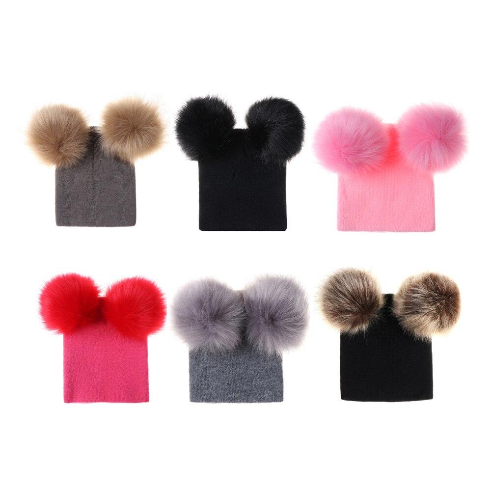 1-5y Kleinkind Warme Winter Wolle Hut Mit 2 Pompon Kinder Baby Nette Knit Beanie Gestrickte Häkeln Ski Kappe Weihnachten Geschenk Newsboy Caps