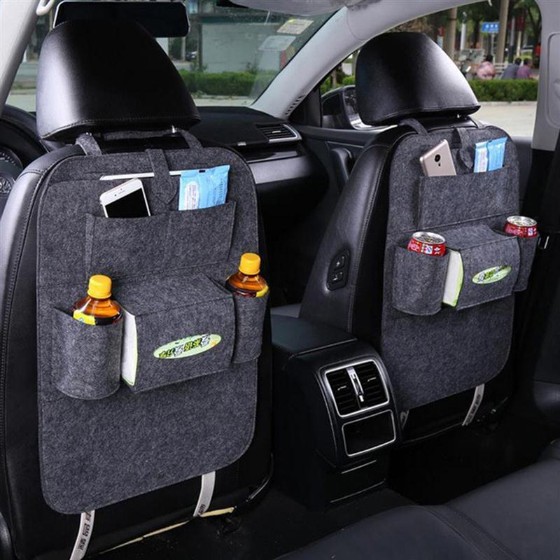 OUNONA Car Backseat Organizer Felt 6-Pocket Kids Toys Car Back Seat Travel Storage Bag for Tissue Box Pen