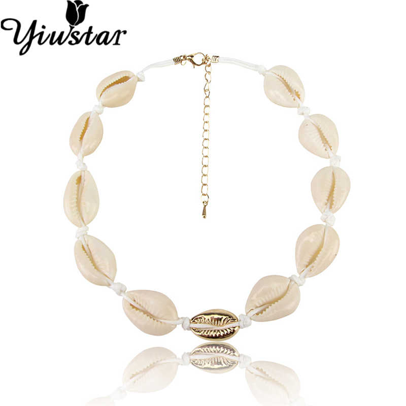 Yiustar Fashion Natural Shell Charms Choker Necklace Women Handmade Seashell Rope Chain Necklaces Pendants Jewelry Collar Shells