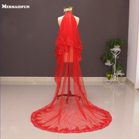 Real Photos Two Layers Sequined Lace Red Wedding Veil with Metal Comb 2 T Colorful Long Bridal Veil Velos de Novia