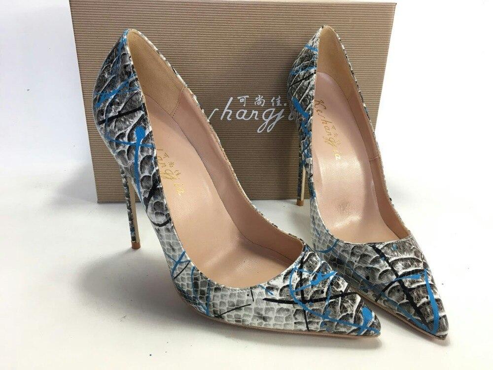 Keshangjia  Women Shoes Blue Snake Printed Sexy Stilettos High  Heels  Pointed Toe Women Pumpswomen pumpsstiletto high heelshoes blue