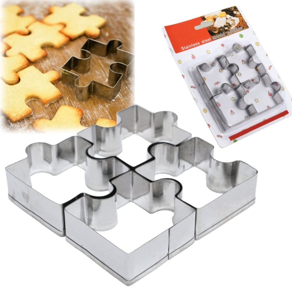 4pcs fondant sugarcraft cake mold stainless steel puzzle piece pastry cookie cutter biscuit mould baking frame tools