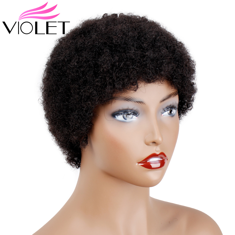 VIOLET Peruvian Short Kinky Curly Afro Wigs for Black Women 100 Human Hair Wigs for African