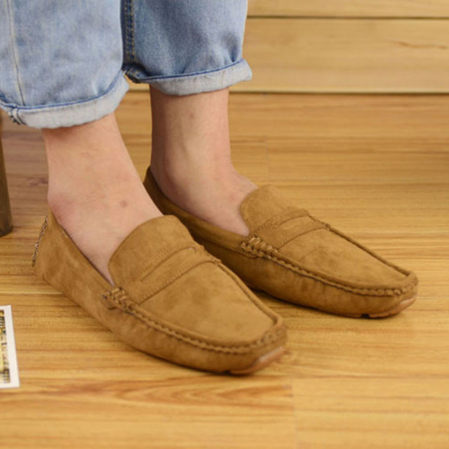 f849493312d Unisex Spring Autumn Women Leather Flats Shoes Casual Loafers Breathable  Slip On Korean Moccasins Lady Driving Shoes Plus Size
