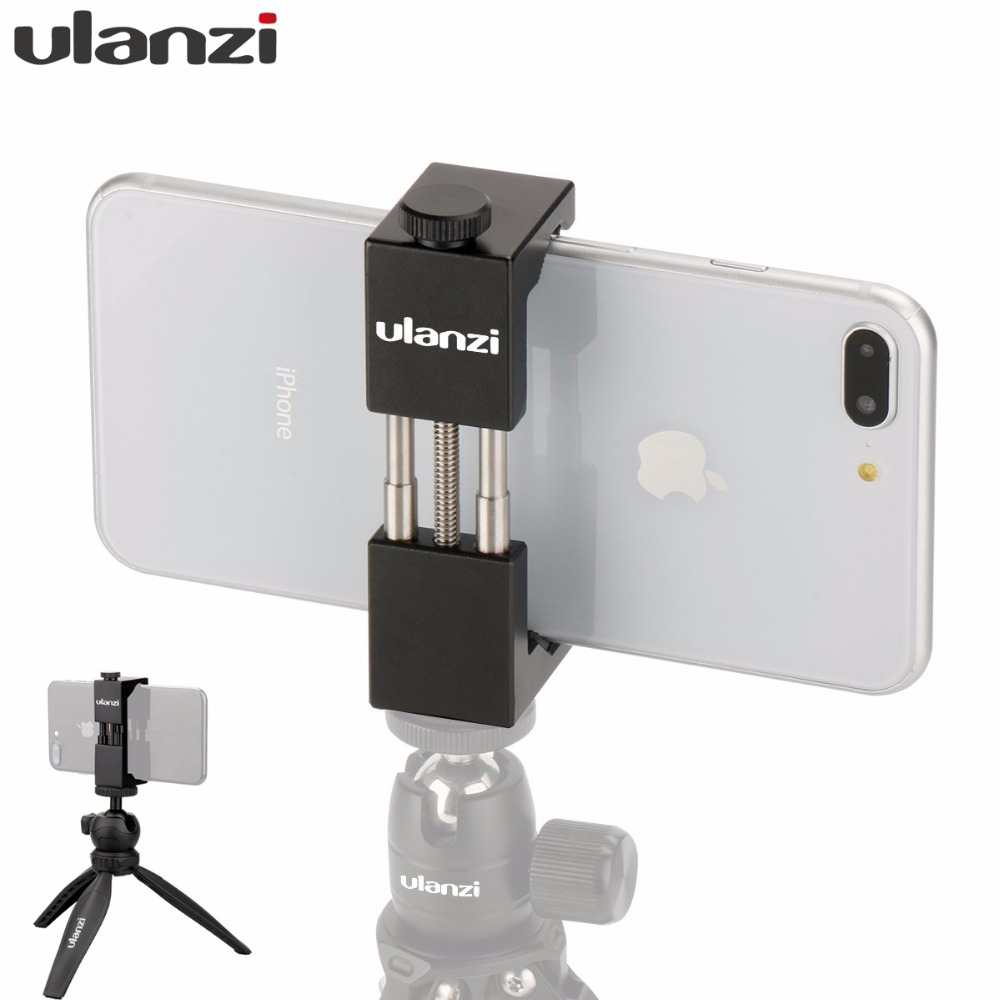 Ulanzi ST-01 ტელეფონი Tripod Mount Tripod Mount Clipper Stand Adapter Metal Metal Alumin Tripod Clamp for iPhone X Huawei Xiaomi მობილური ტელეფონი