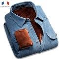 Langmeng 2015 Calientes Del Invierno 100% Algodón de Pana de la Vendimia de Terciopelo Camisa de Vestir Outwear Ocasional Camisa Para Hombre Slim Fit Camisa Masculina