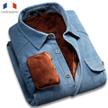 Langmeng 2015 Winter Warm 100% Cotton Vintage Corduroy Velvet Dress Shirt Outwear Casual Shirt Mens Slim Fit Camisa Masculina