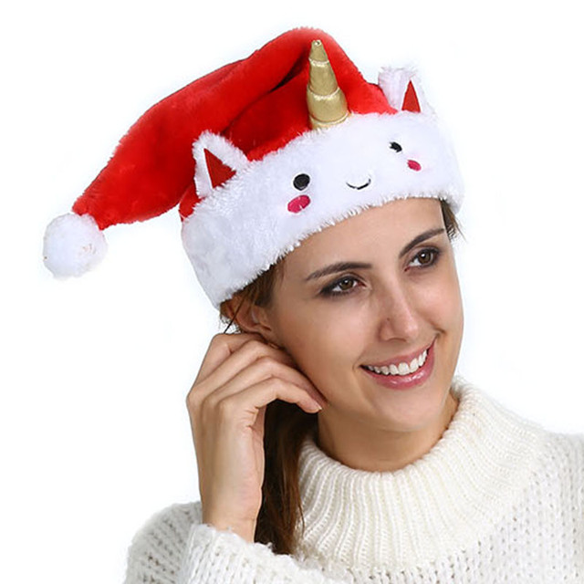 3ba0c905fd9eb Christmas Party Supplies Unicorn Christmas Santa Hat Red Hats For Christmas  Decoration Santa Claus Costume