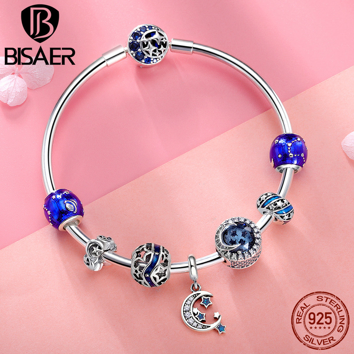 925 Sterling Silver Bracelets for Women Moon And Star CZ Crystal Bracelets Bangles for Women Authentic