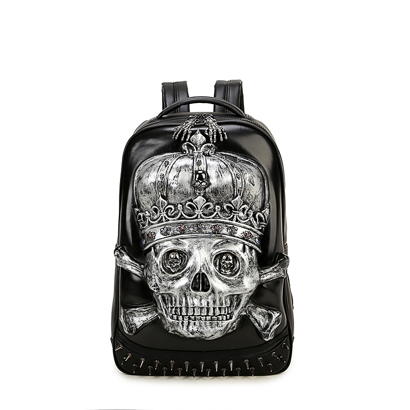 Fashion Personality Punk Skull Rivet Backpacks Men and Women Casual Shoulder Bags Large Space PU Leather Backpack Skeleton Packs new 2018 punk hip hop skull men backpacks waterproof pu leather rivet women backpacks casual school bags for teenagers mochilas