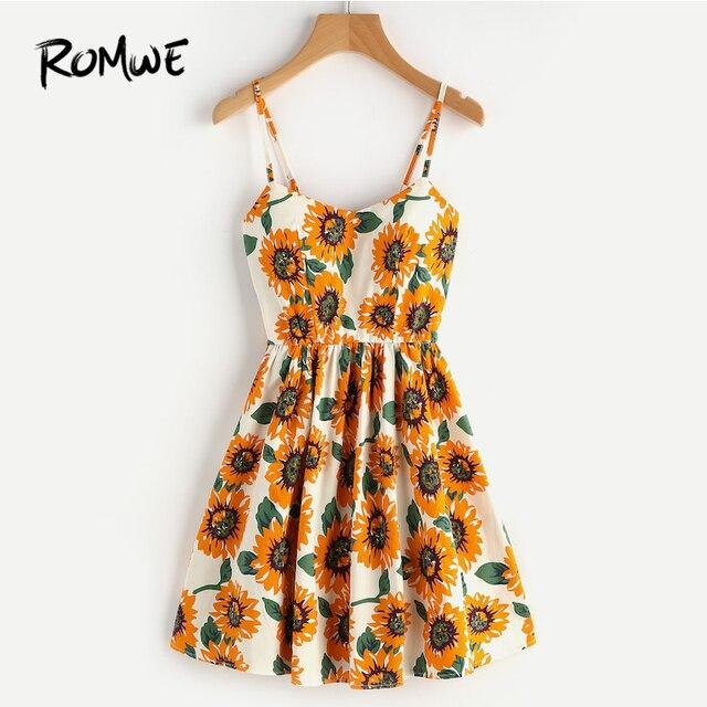8b61ecd423e4 ROMWE Random Sunflower Print Spaghetti Strap Dress,Floral Sleeveless A Line  Slip Cami Dresses for Women,Crisscross Lace Up Back