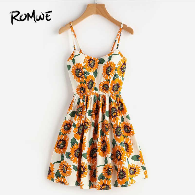 9a78ba7d0284 ROMWE Random Sunflower Print Spaghetti Strap Dress,Floral Sleeveless A Line Slip  Cami Dresses for