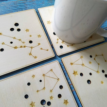 4pcs/set Star Coasters, Constellations Drink Coasters Mat Wooden Coaster Table Placemat Kitchen Accessories Decoration