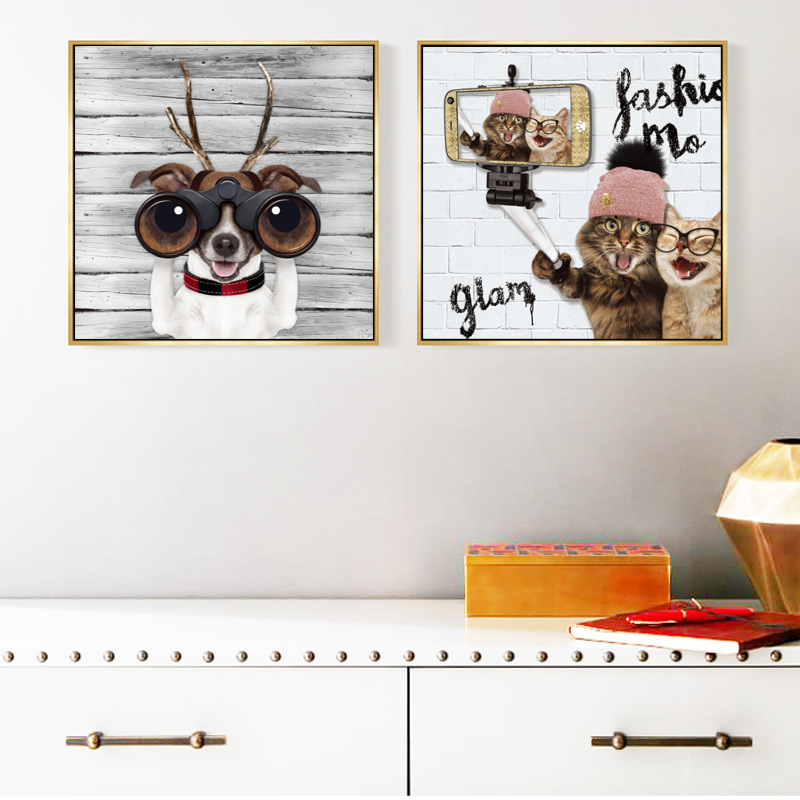 Fashion Animals Posters and Prints Wall Art Canvas Painting Cute Dogs Cats Pictures for Living Room Home Decoration No Frame