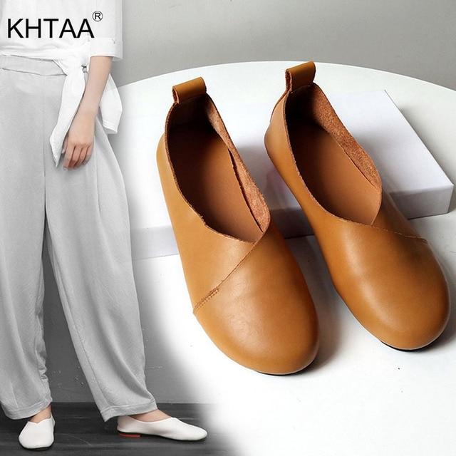KHTAA Kadın Loafer'lar Bahar bale ayakkabıları Bayanlar Yumuşak bağcıksız ayakkabı Vintage Konfor Kadın Açık Rahat Moccasins Artı Boyutu 2019