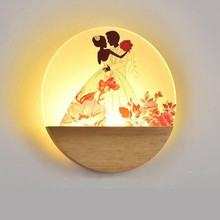 Bedroom Bedside led Wall Lamp CreativeSimple Decoration American Led Modern Lamps 3 color change acrylic wood light
