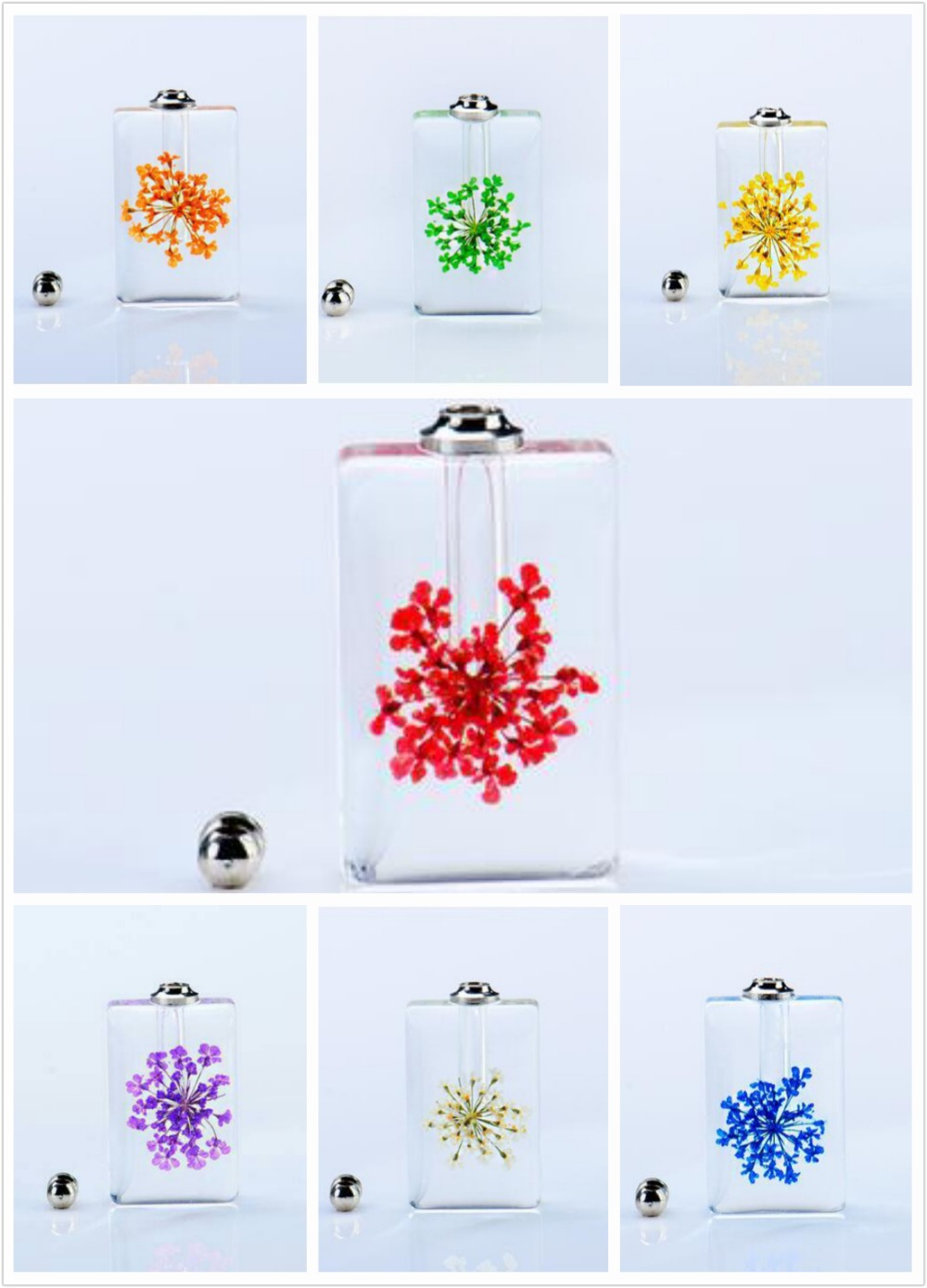 100pcs Wholesale Fashion Jewelry Crystal Creative perfume Bottle Real dried Flower Pendant Necklace Female Sweater Drop Bijoux