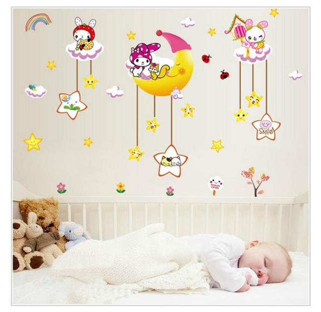 Rabbit On The Moon Cartoon Children Wall Stickers Children Bedroom  Decoration High Quality On Hot Sellling