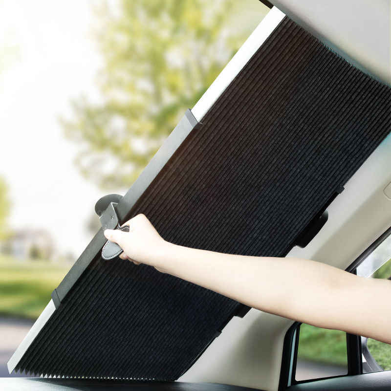 Parabrezza parabrezza Copri-auto Tendine Parasole automatico a scomparsa Parabrezza in alluminio retroriflettente Visiera parasole