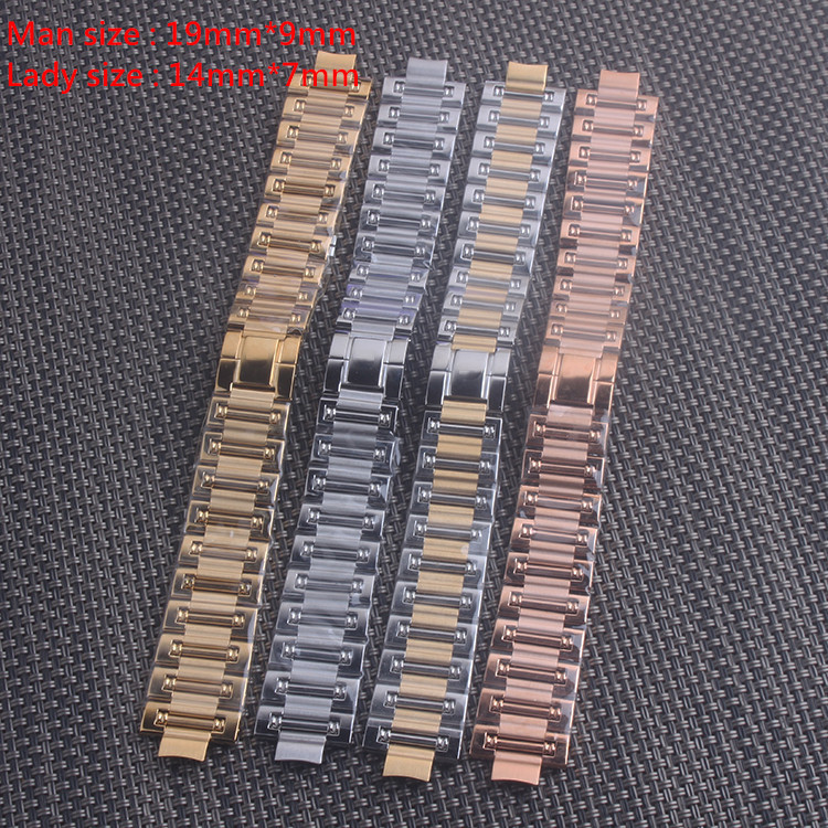 14mm 19mm Watch Band Strap Stainless Stell Deployment Clasp Speed Master Wrist Women Band for Piaget