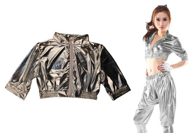 2015 nuevas mujeres Tops ropa Jazz ds ultracorta plata Hip Hop espectáculo de danza traje del bailarín chaqueta de la capa