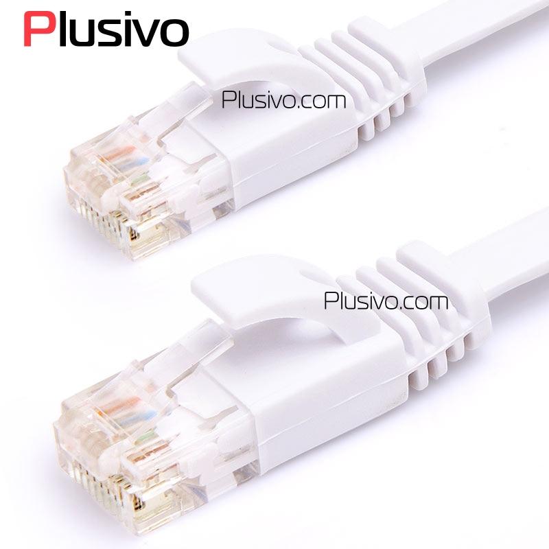 Plusivo 5m 10m 15m Ethernet კაბელები ბინა CAT6 ბინა UTP Ethernet ქსელის კაბელი RJ45 Patch LAN Ethernet კაბელები თეთრი / შავი