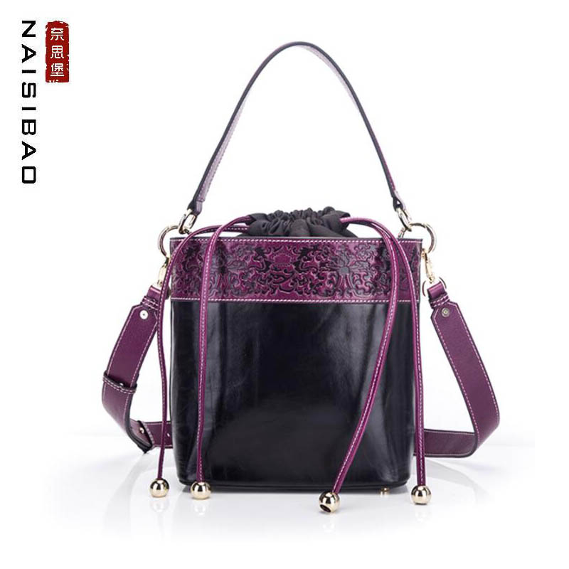 NAISIBAO New Genuine Leather handbags Cowhide women leather bag Fashion embossing real leather women leather shoulder Bucket bagNAISIBAO New Genuine Leather handbags Cowhide women leather bag Fashion embossing real leather women leather shoulder Bucket bag