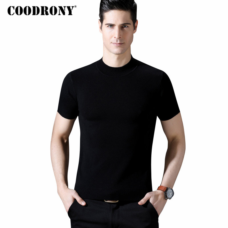 COODRONY Pullover Men Merino Wool Clothing Sweaters Short-Sleeve O-Neck Cashmere Thick
