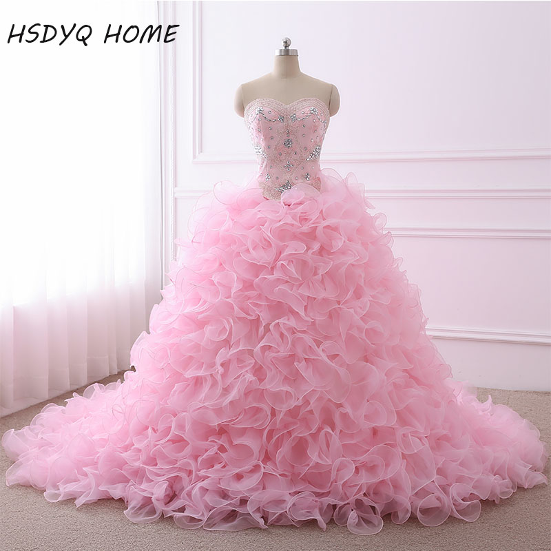 d8bcd35146 Real Photo Quinceanera Dresses Ball Gown Sweetheart Organza Crystals Beaded  Ruffles Pink Detachable Sweet 16 Pageant Dresses