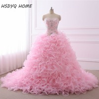 Real Photo Quinceanera Dresses Ball Gown Sweetheart Organza Crystals Beaded Ruffles Pink Detachable Sweet 16 Pageant Dresses