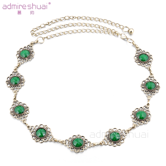 Retro Handmake Green Luxury Rhinestone Chain Belt Women Metal Brand Designer Belts Waist Strap All-Match Cinto Feminino BL-785