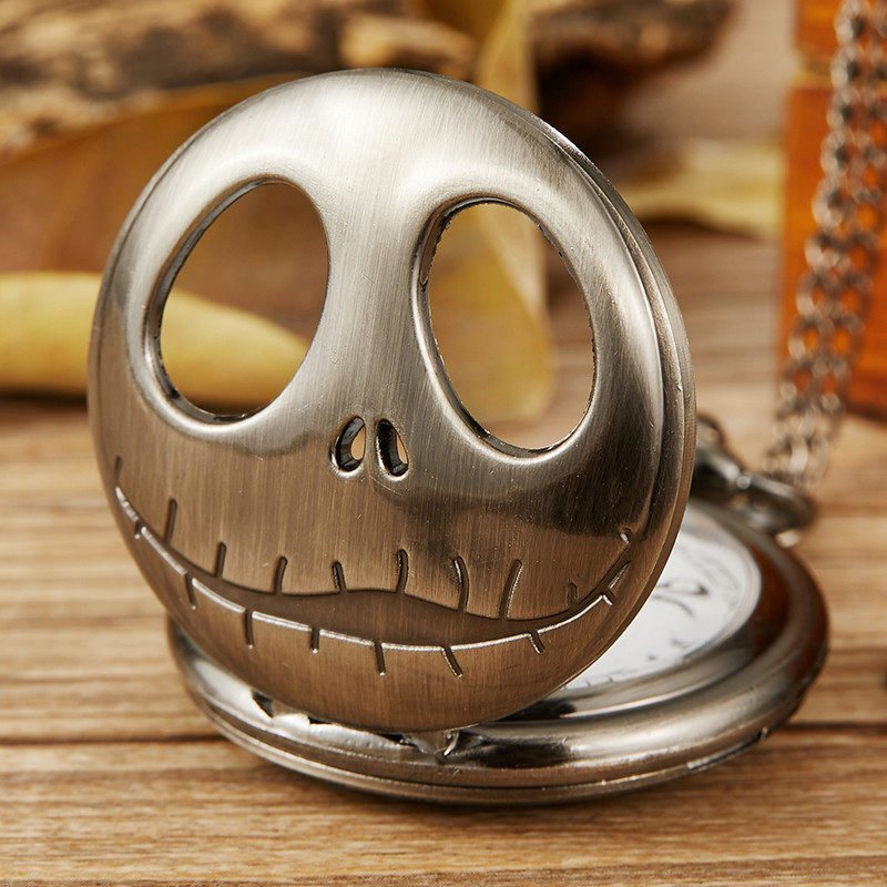 Nightmare Before Christmas Jack Pocket Watch Mens Womens Necklace Fob Chain Retro Bronze Hollow Skull Quartz Pocket Watch Gifts
