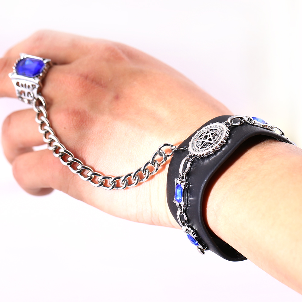 Anime Black Butler Kuroshitsuji Bracelet Leather Wristband Cosplay Fashion Accessory for Women Men Pulseira HSIC11202