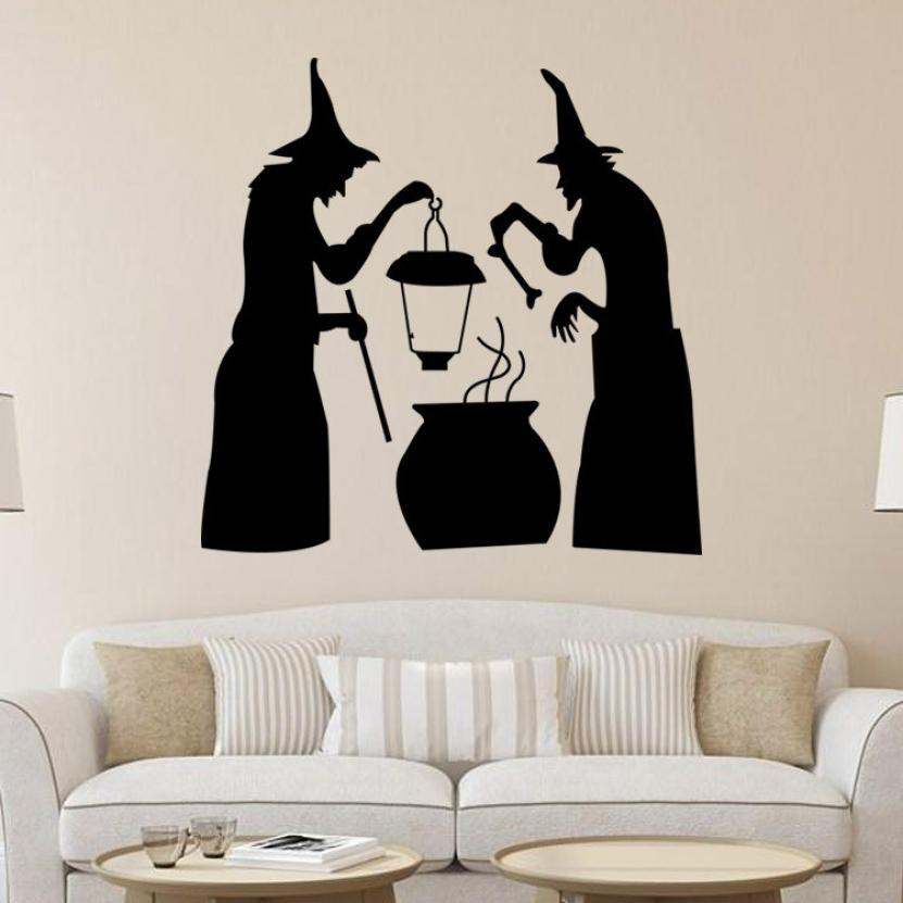 happy halloween wall sticker window home decoration decal decor halloween two wizards wall stickers photo wall - Halloween Wall Mural