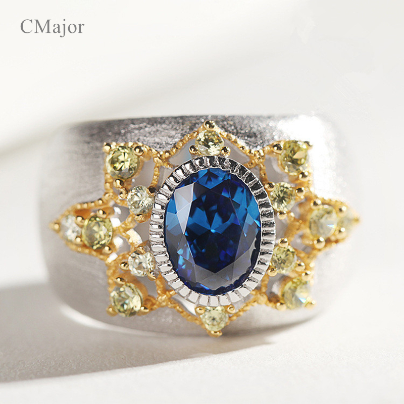 CMajor Pure Silver Jewelry Blue Stone Vintage Ethnic Personality Rings For Women chic ethnic paisley pattern dark blue voile scarf for women