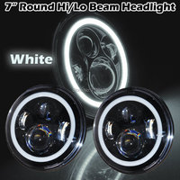 7 LED Car Motorcycle DRL Fog Light Angel Eyes IP67 For Harley Jeeps Wrangler 7inch Round