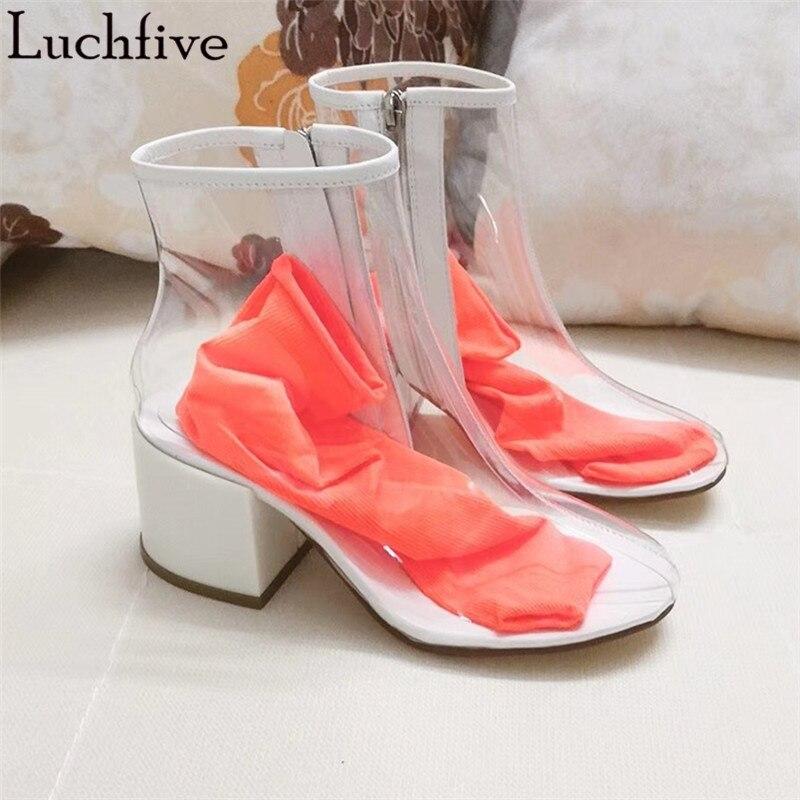 Желе ярких цветов прозрачный ПВХ женские ботильоны 2018 г. пикантные на среднем каблуке обувь для дождя с носка летние сандалии женские