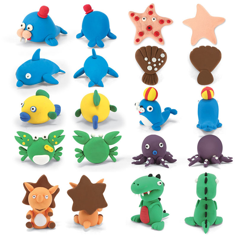 Handmade Animal Vegetables Pet Soft Clay Figure Creative DIY Model Little Play Dough with Instructions Education Plasticine Toys analog watch