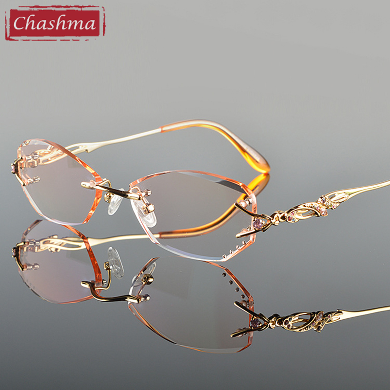 Chashma Luxury Tint Objektiv Myopi Glasögon Läsglasögon Diamantskärning Rimless Titanium Glasses Frame for Women