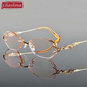 Chashma Luxury Tint Lenses Myopia Glasses Reading Glasses Diamond Cutting Rimless Titanium Glasses Frame for Women - DISCOUNT ITEM  22% OFF All Category