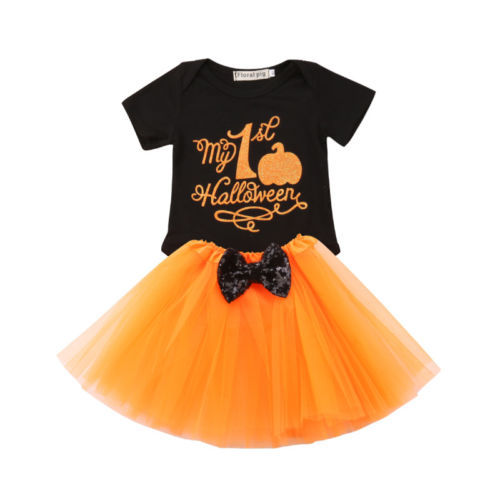 a65cbea3bd97 Halloween Newborn Infant Baby Girl Romper Tops +Lace Tulle Tutu Dress  Outfits Clothes