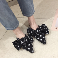 Mules Shoes Woman Polka Dot Butterfly Knot Flip Flops Slides Pointed Toe Low Heels Slippers Loafers Summer Sandals White Black